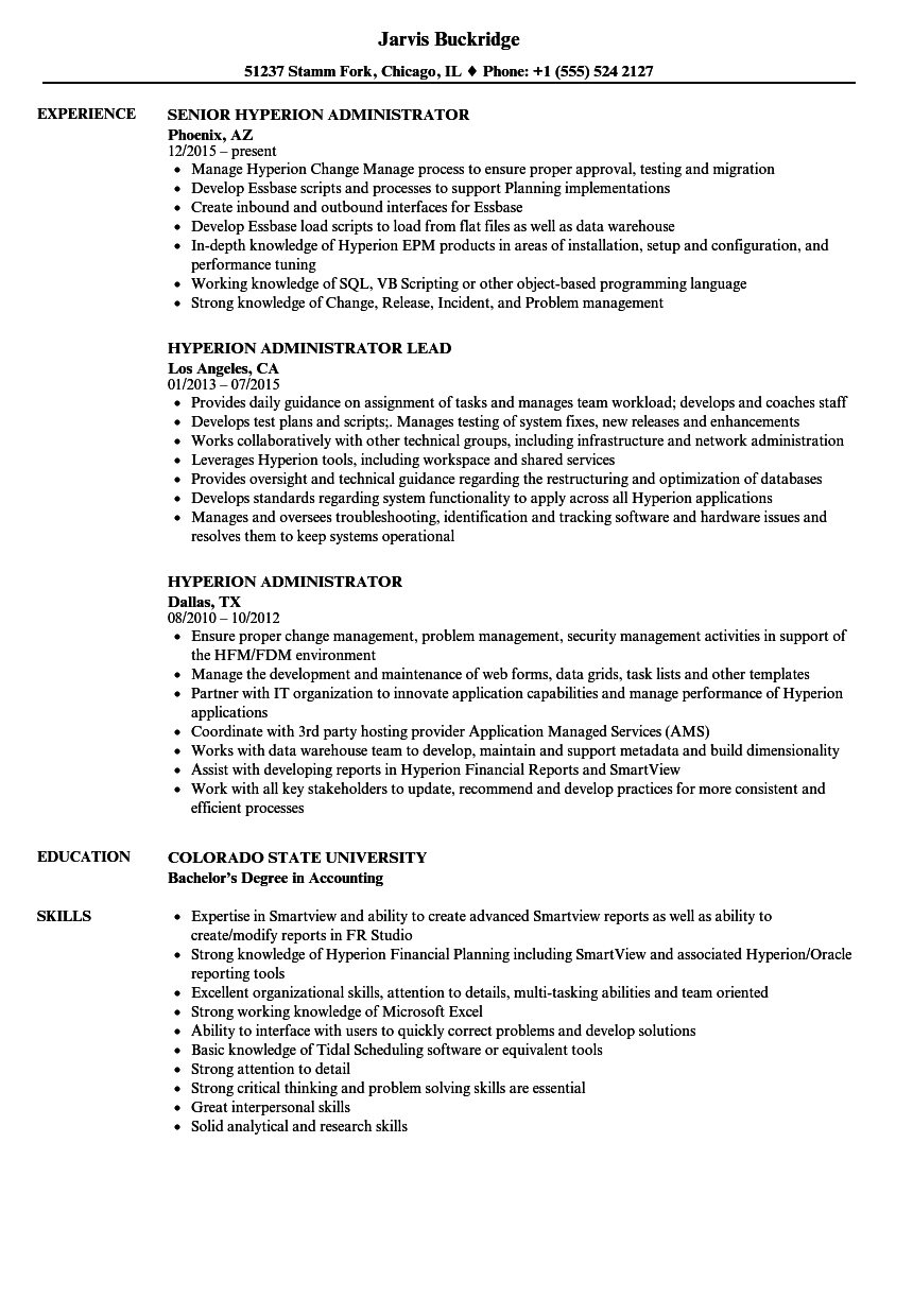 Hyperion Administrator Resume Samples | Velvet Jobs