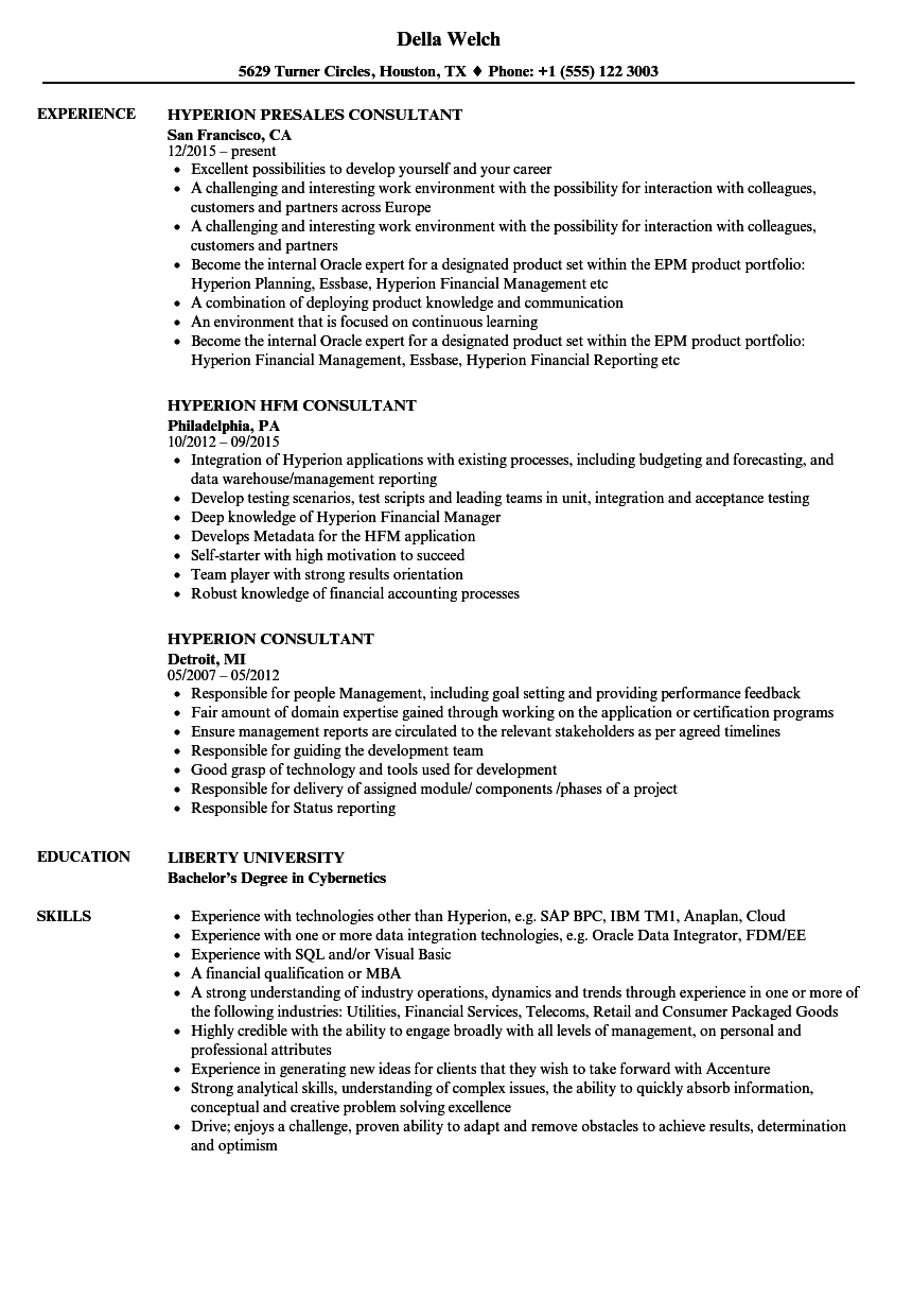 hyperion consultant resume samples