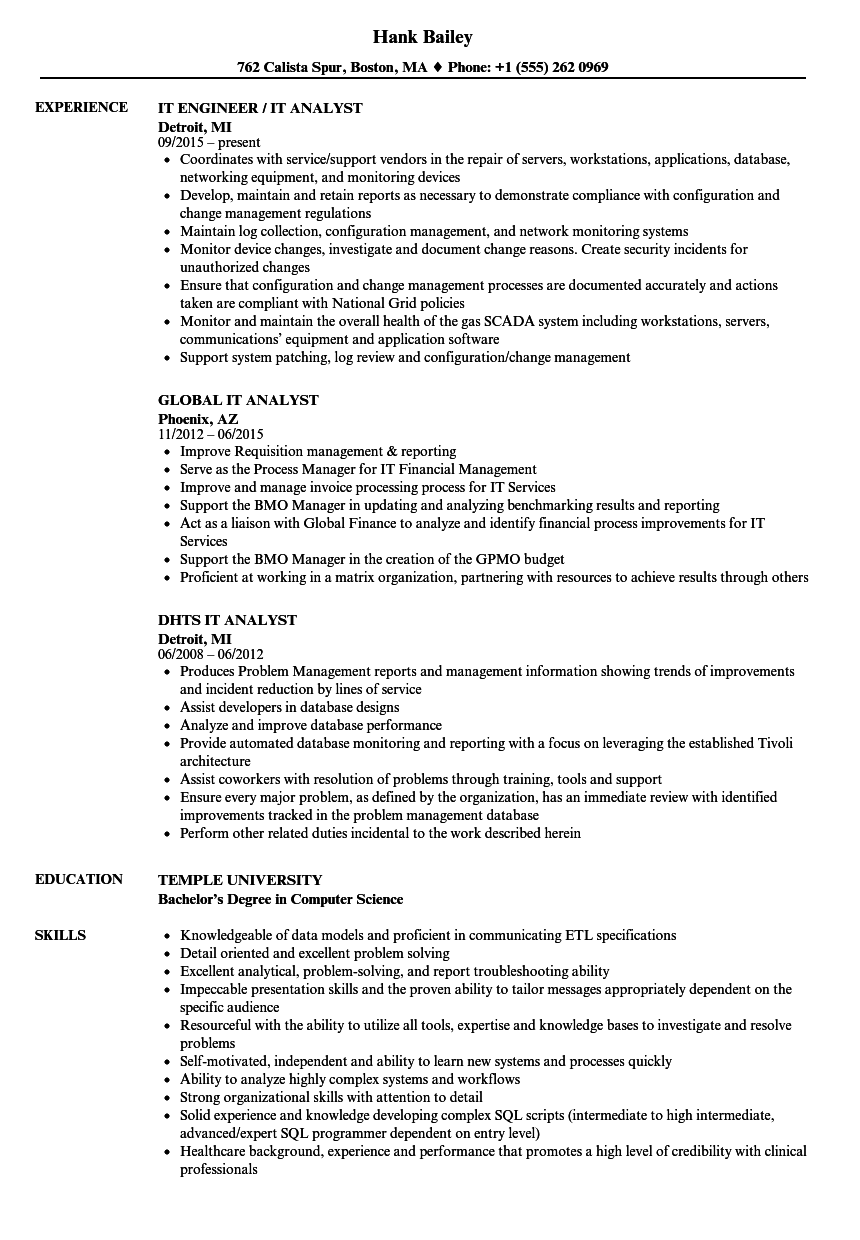 i t analyst resume samples