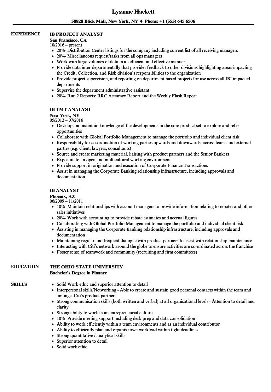 ib analyst resume samples