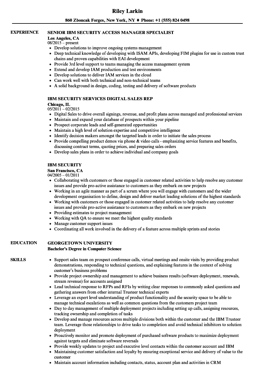 ibm security resume samples