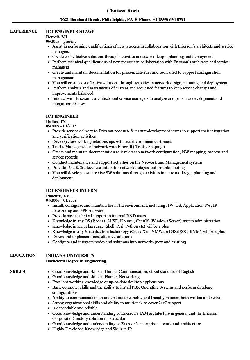 ict engineer resume samples