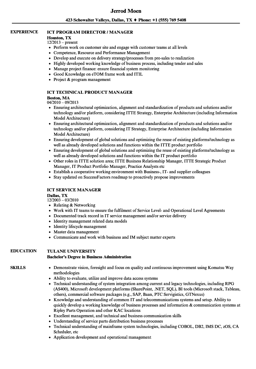 ict manager resume samples