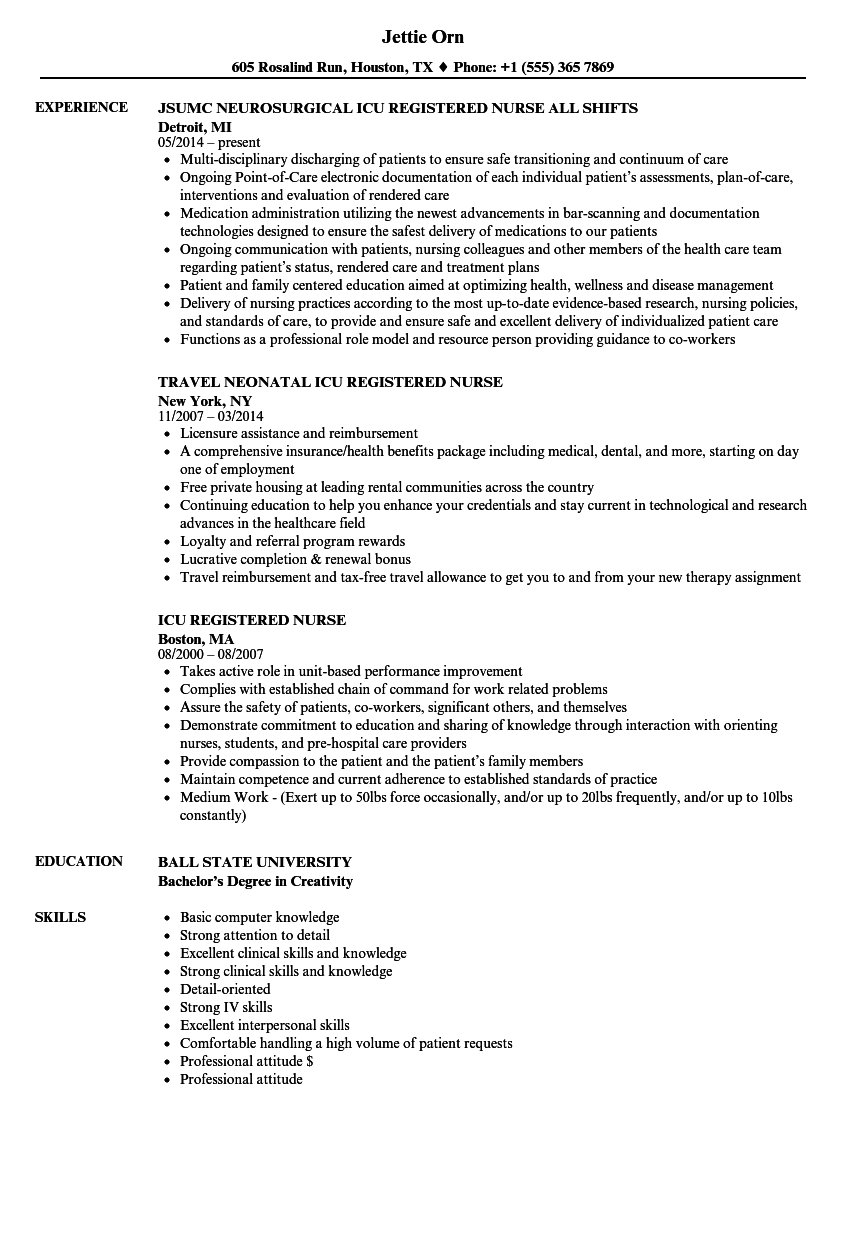 Icu Registered Nurse Resume Samples Velvet Jobs