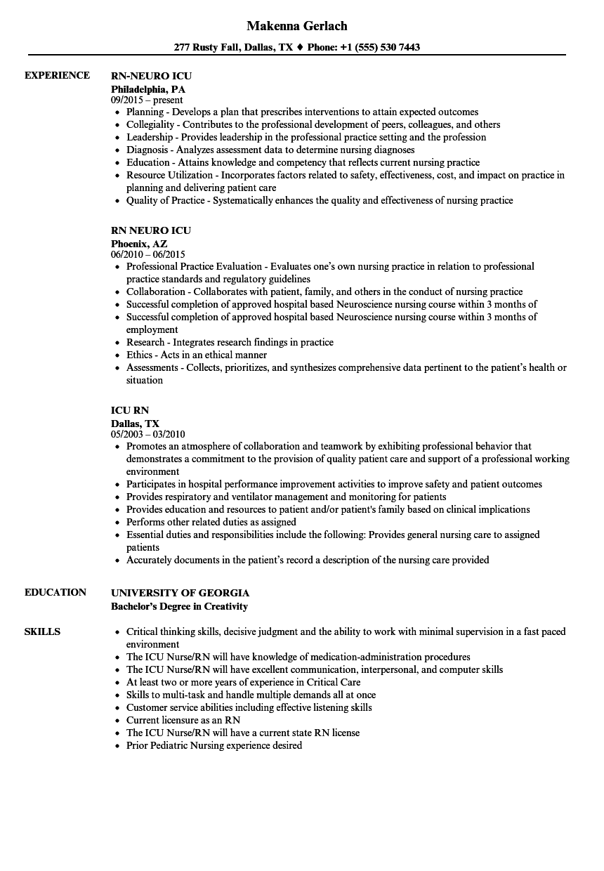 Icu Rn Resume Samples | Velvet Jobs
