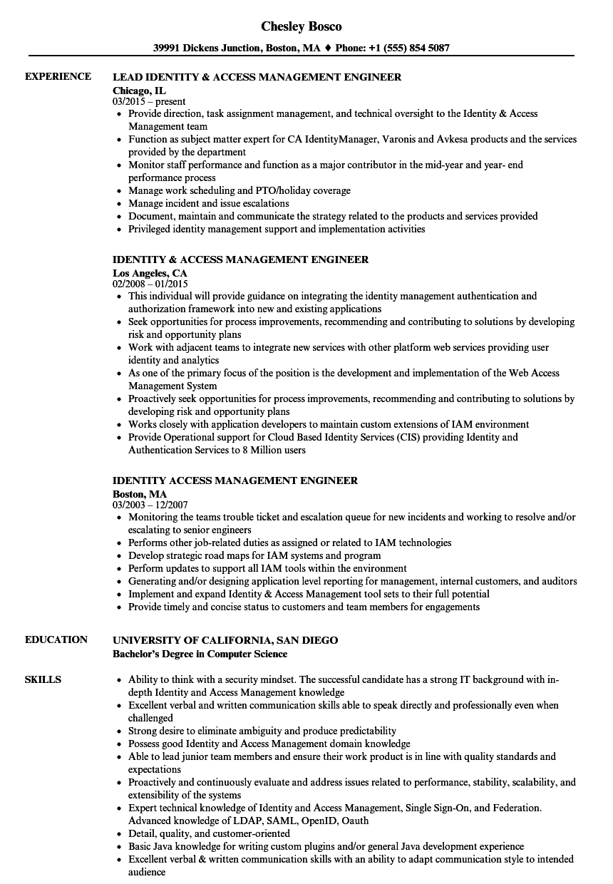 identity  u0026 access management engineer resume samples
