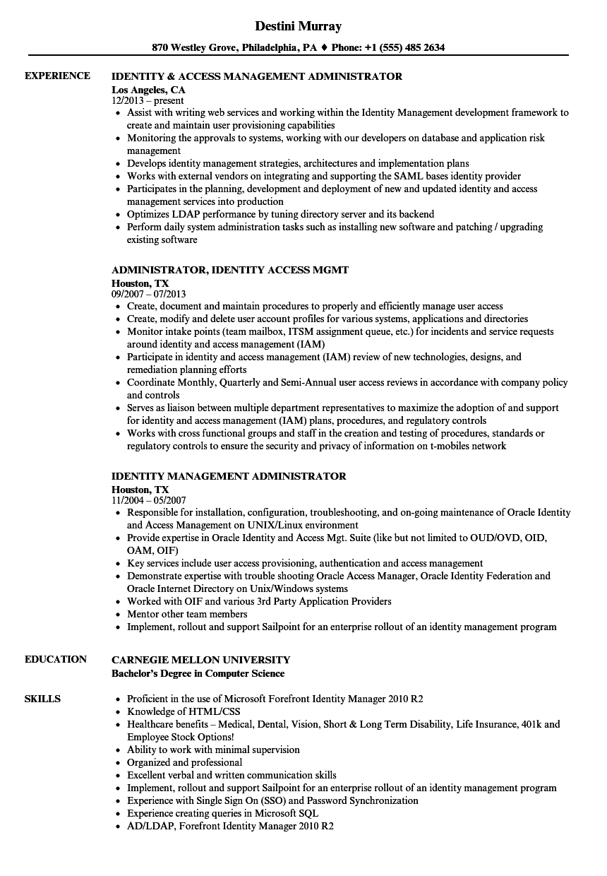 download identity administrator resume sample as image file - Jboss Administration Sample Resume
