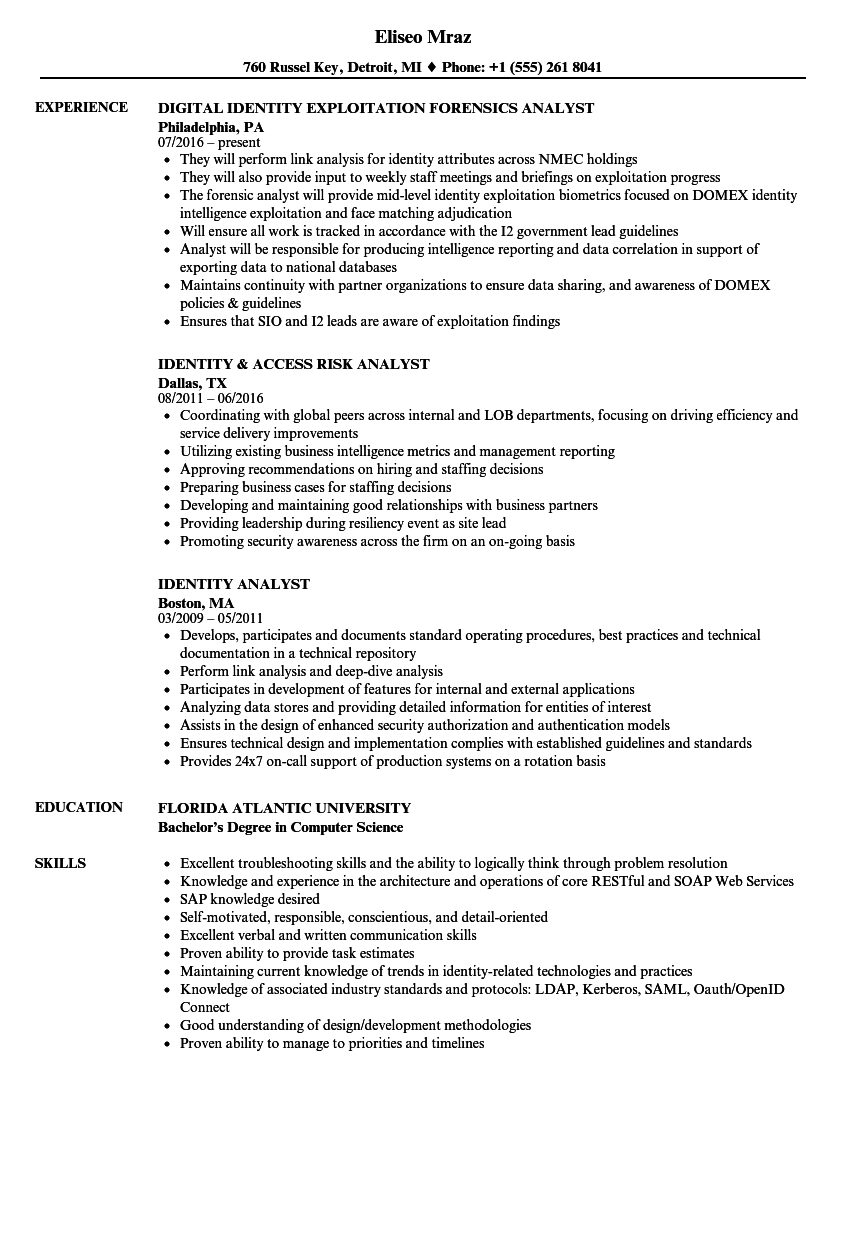 Download Identity Analyst Resume Sample As Image File