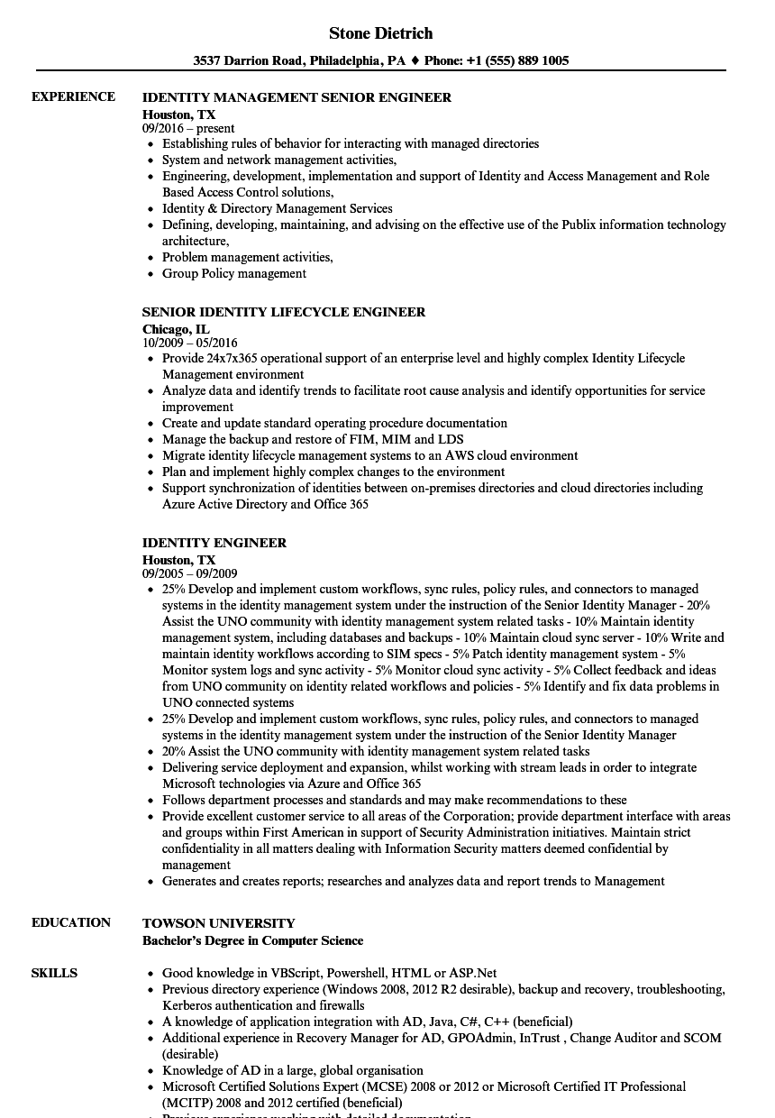 Identity Engineer Resume Samples | Velvet Jobs