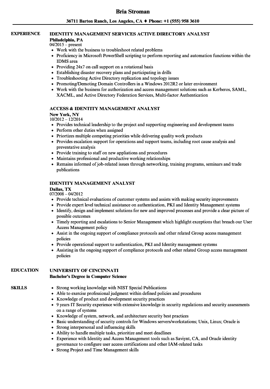 identity management analyst resume samples