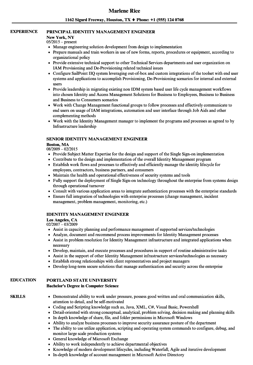 Identity Management Engineer Resume Samples | Velvet Jobs