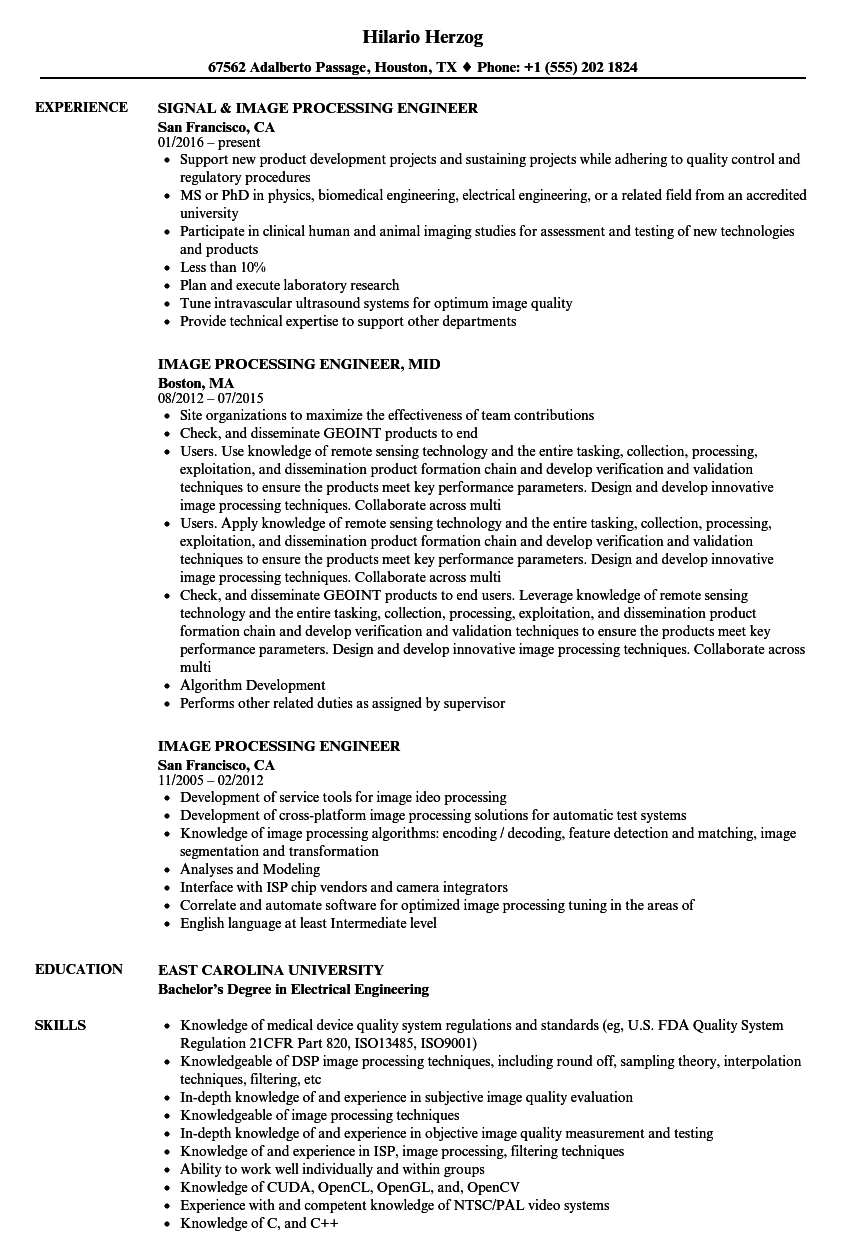 image processing engineer resume samples velvet jobs