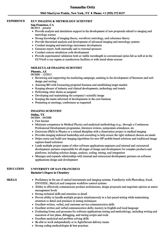 download imaging scientist resume sample as image file - Scientific Resume Examples
