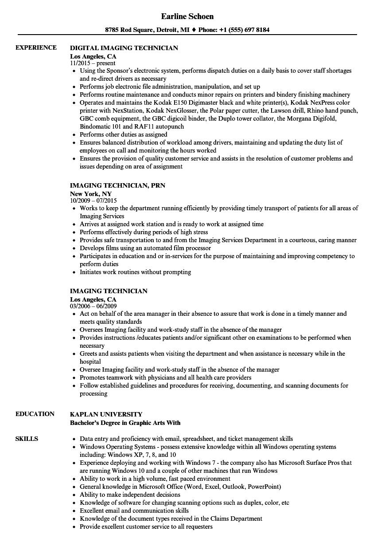 imaging technician resume samples velvet jobs