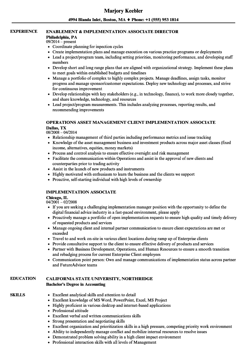 implementation associate resume samples