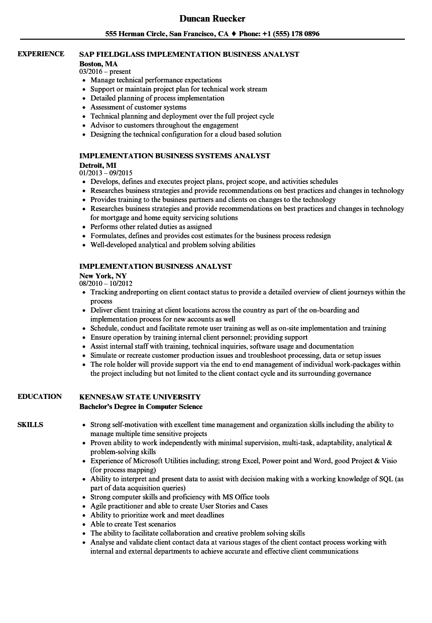 Implementation Business Analyst Resume Samples | Velvet Jobs