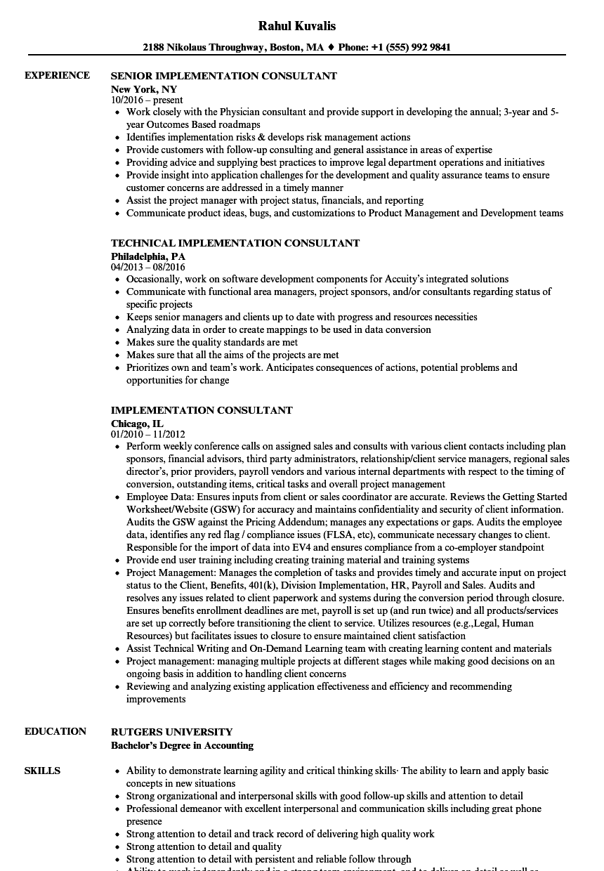 Implementation Consultant Resume Samples | Velvet Jobs