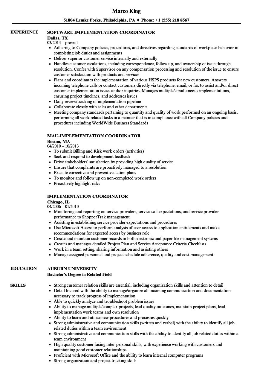 implementation coordinator resume samples