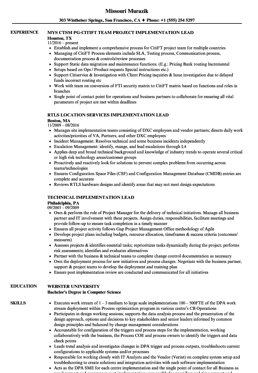 Implementation Lead Resume Samples Velvet Jobs