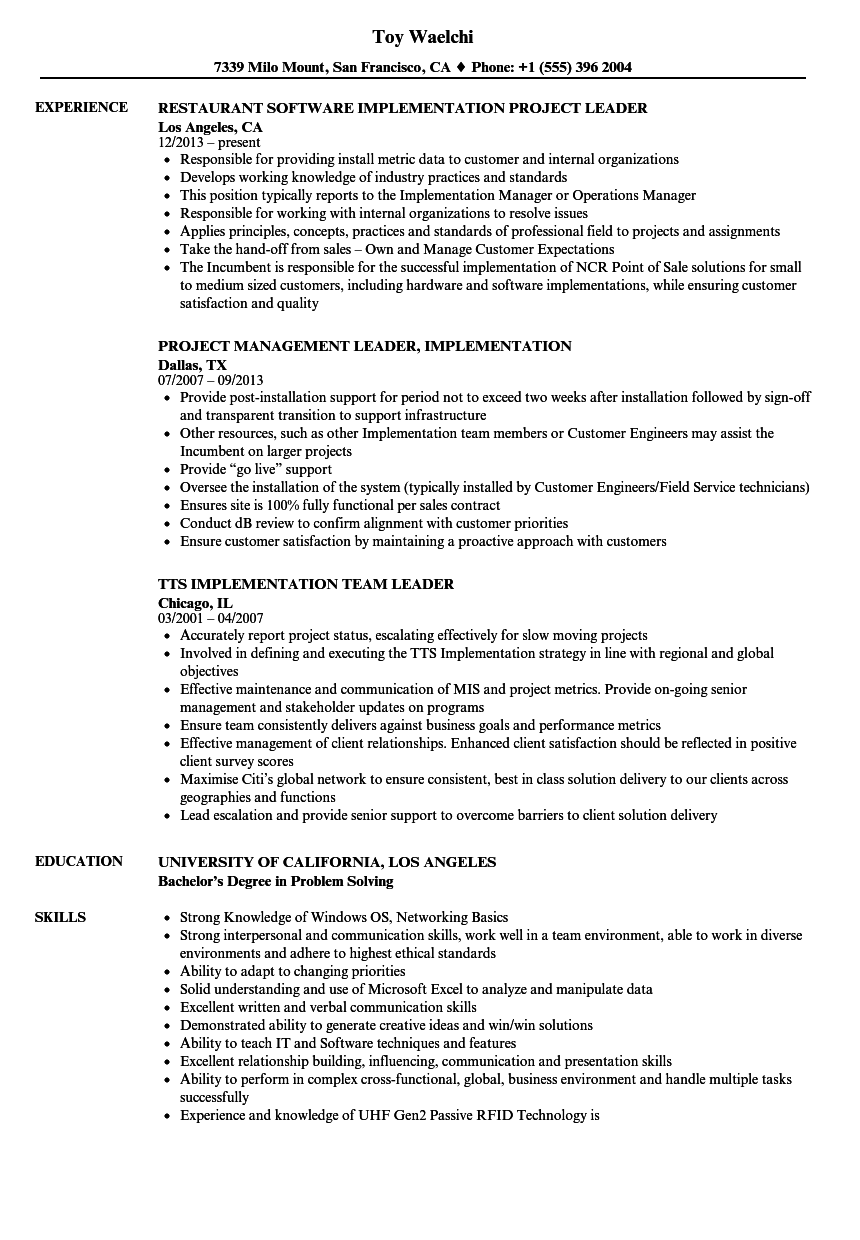 Implementation Leader Resume Samples Velvet Jobs