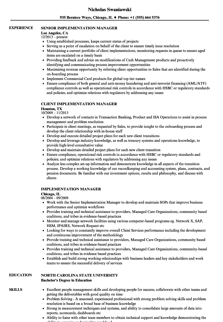 Implementation Manager Resume Samples Velvet Jobs