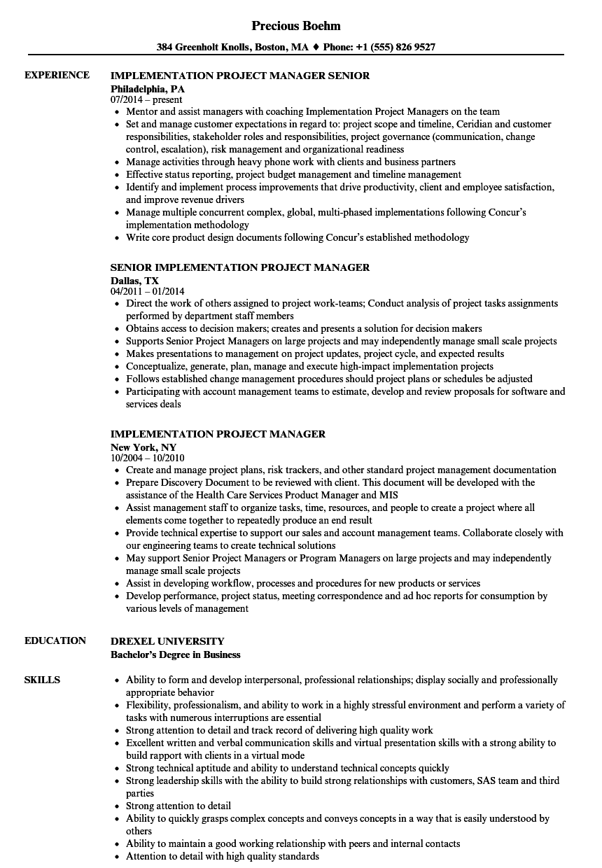 Implementation Project Manager Resume Samples | Velvet Jobs