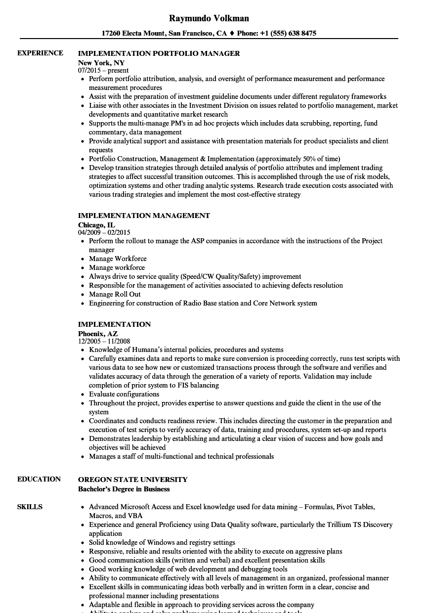 implementation resume samples