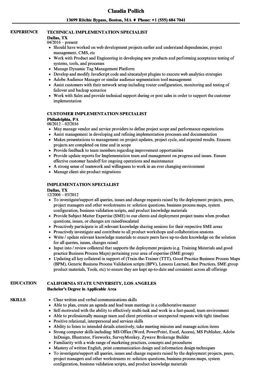 implementation specialist resume samples