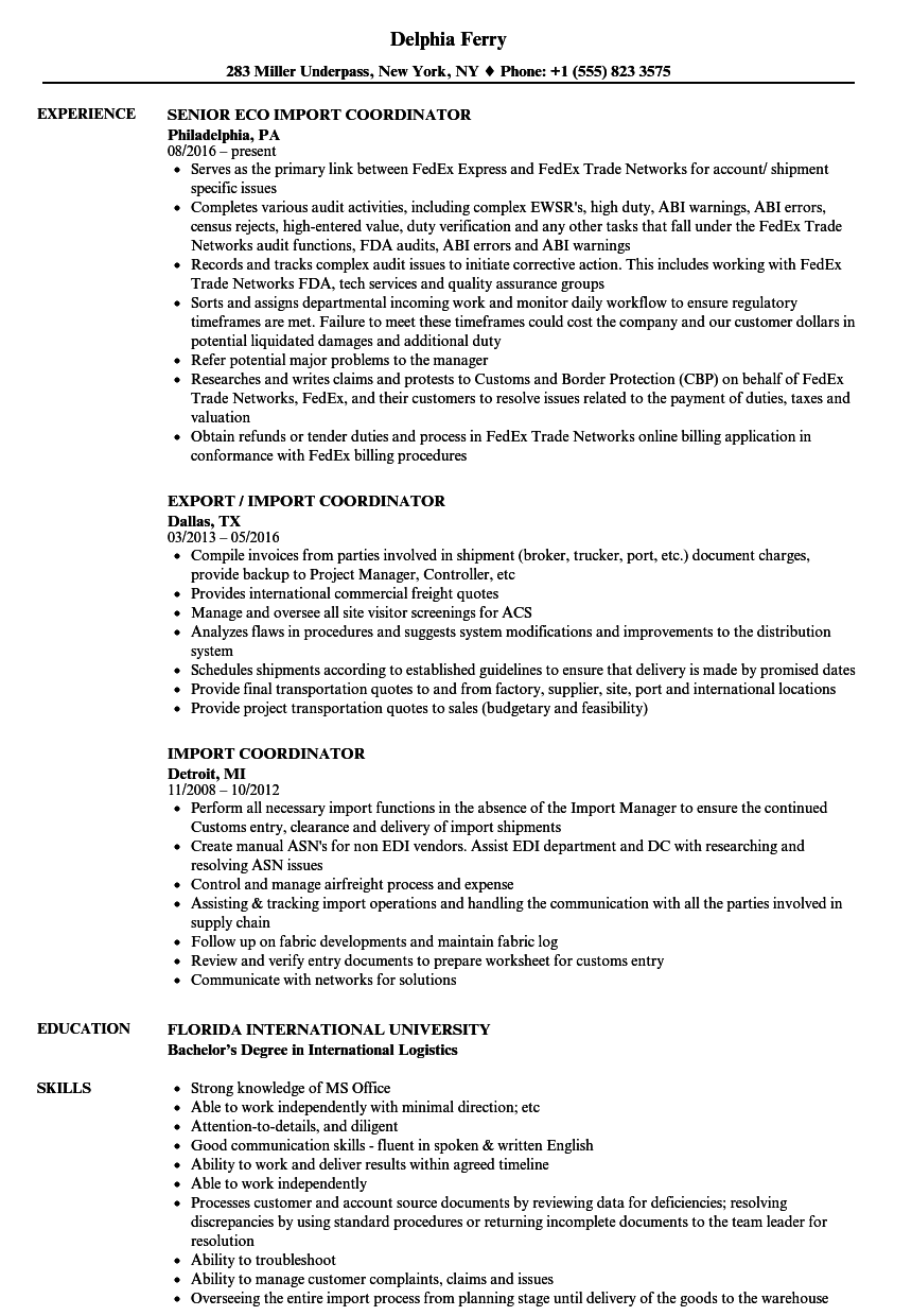Download Import Coordinator Resume Sample As Image File