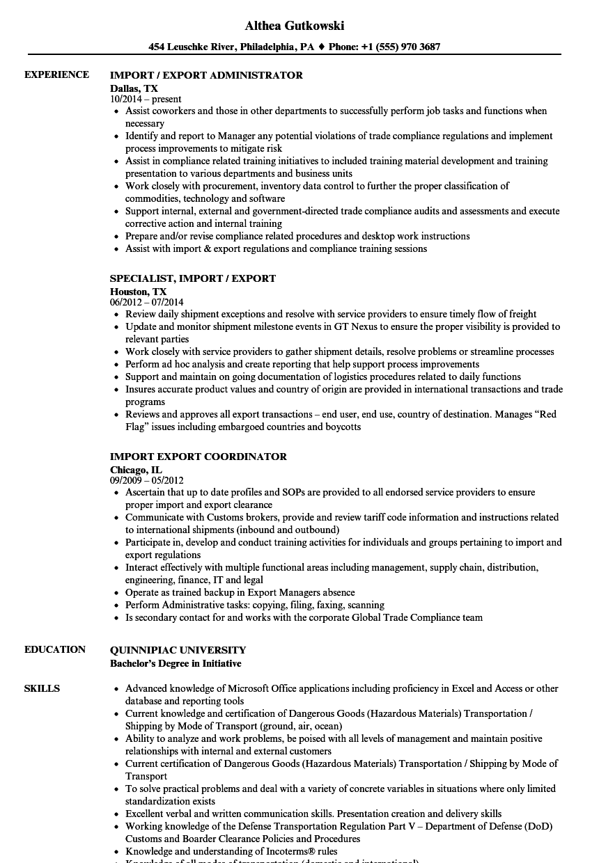 import  u0026 export resume samples
