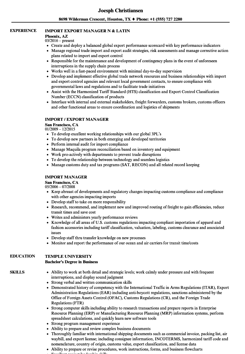 import manager resume samples