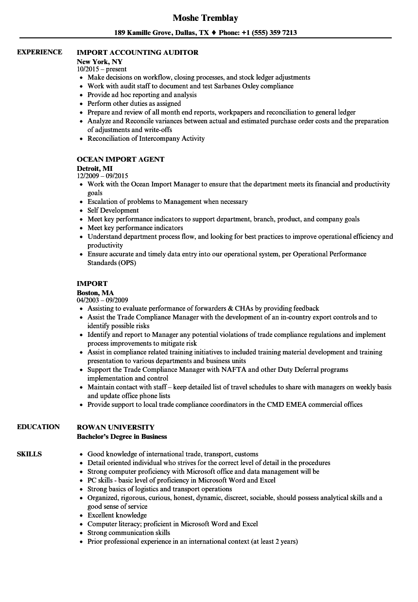 import resume samples