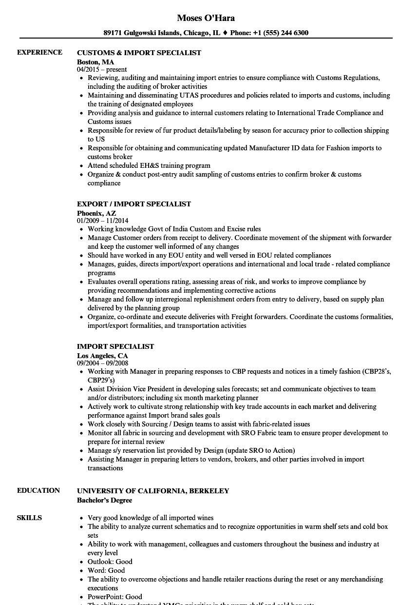 imports purchase resume - import export manager cv sample