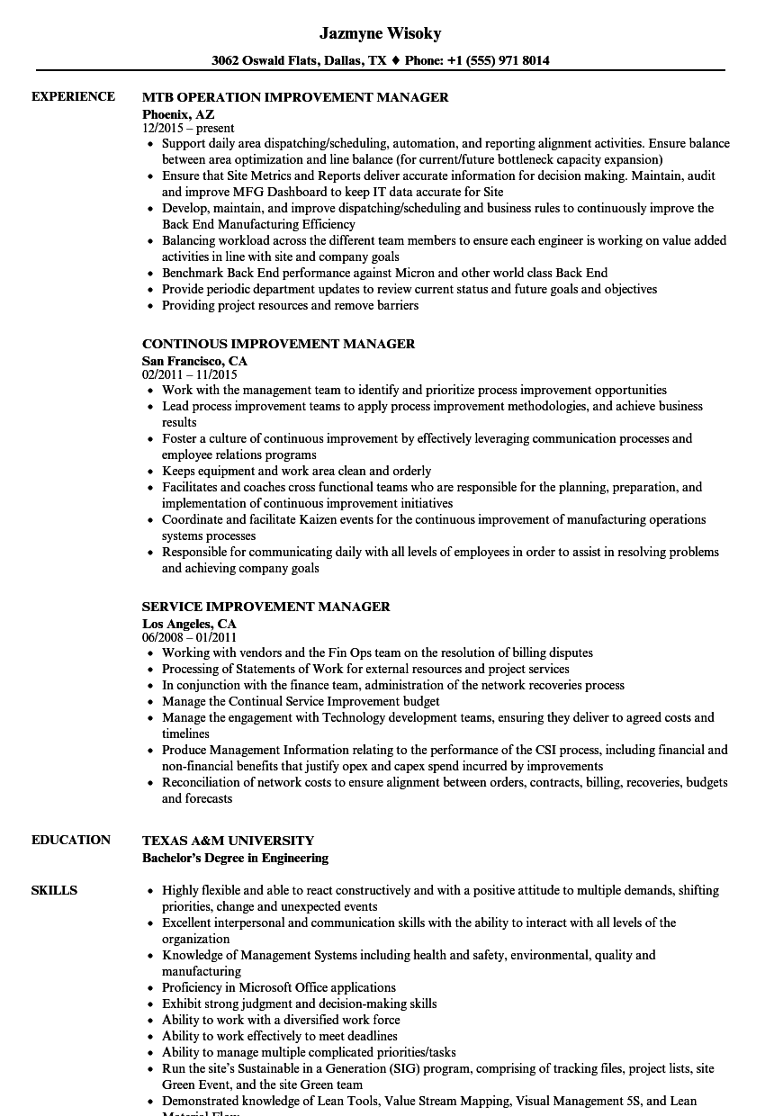 Improvement Manager Resume Samples | Velvet Jobs