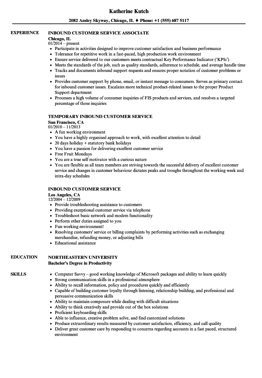 Inbound Customer Service Resume Samples | Velvet Jobs