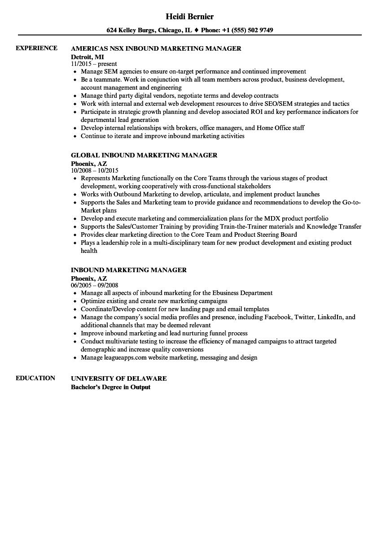 Inbound marketing resume