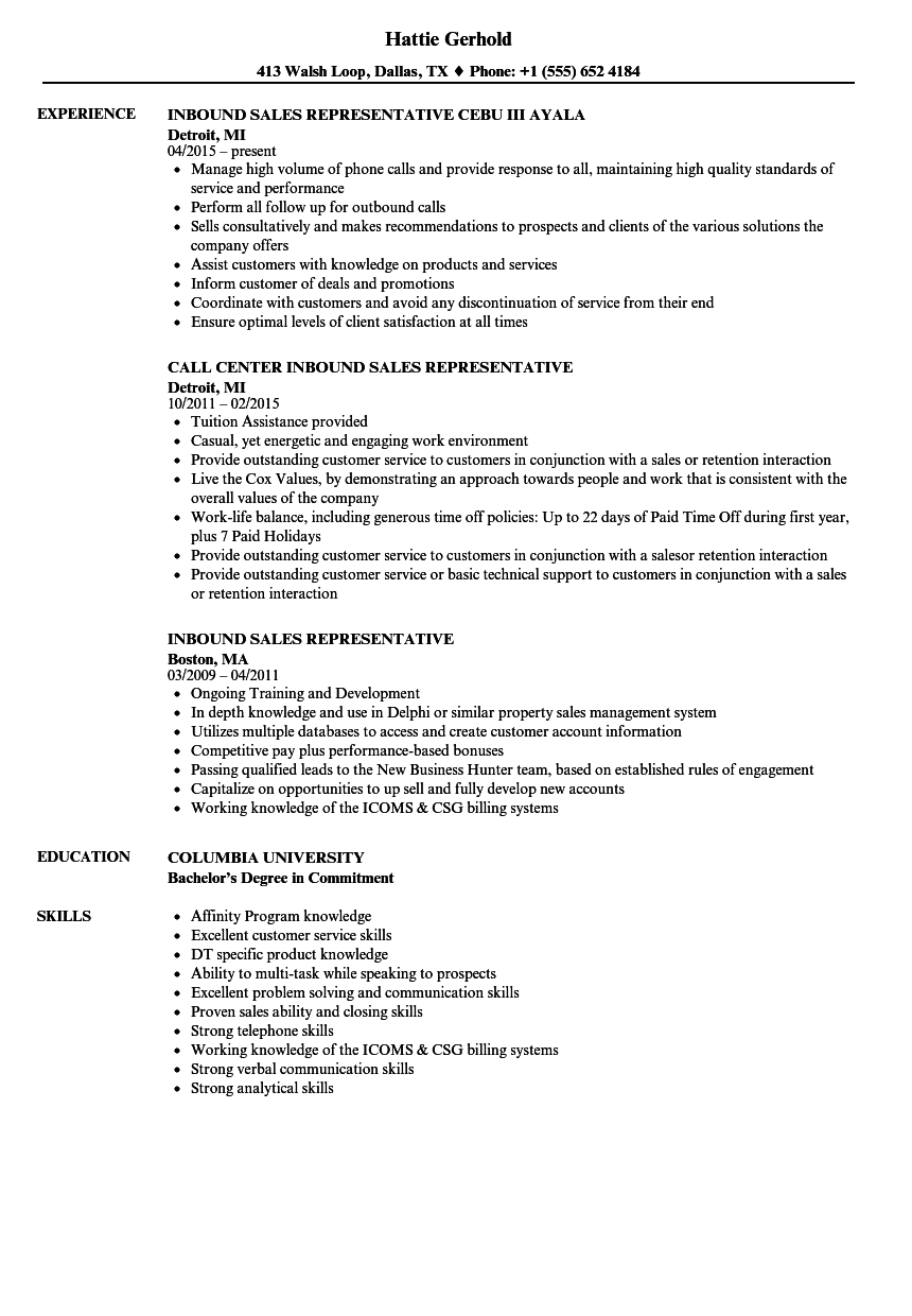 Download Inbound Sales Representative Resume Sample As Image File