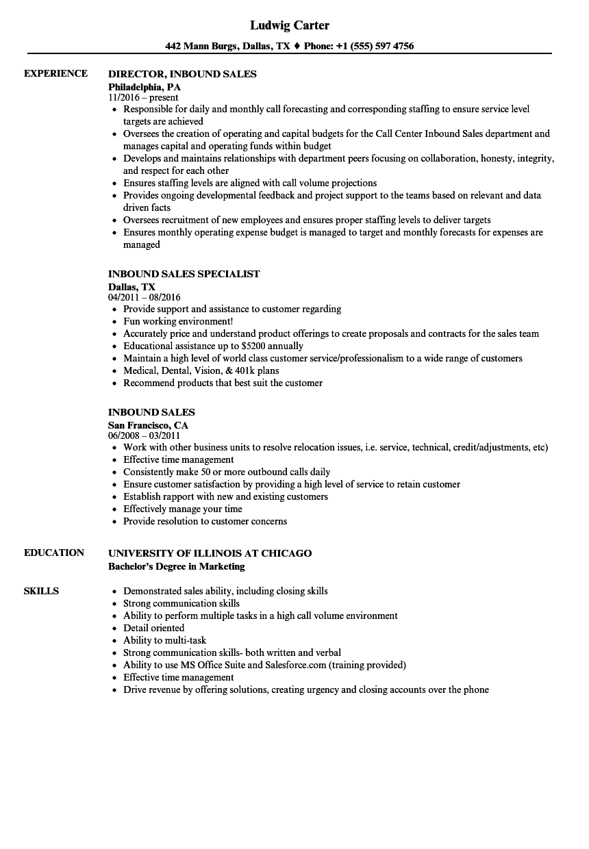 download inbound sales resume sample as image file - Sample Effective Resume
