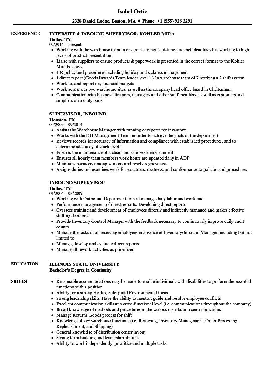 inbound supervisor resume samples