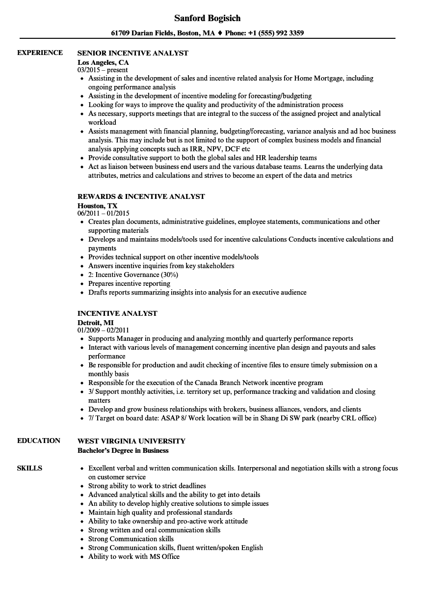 incentive analyst resume samples