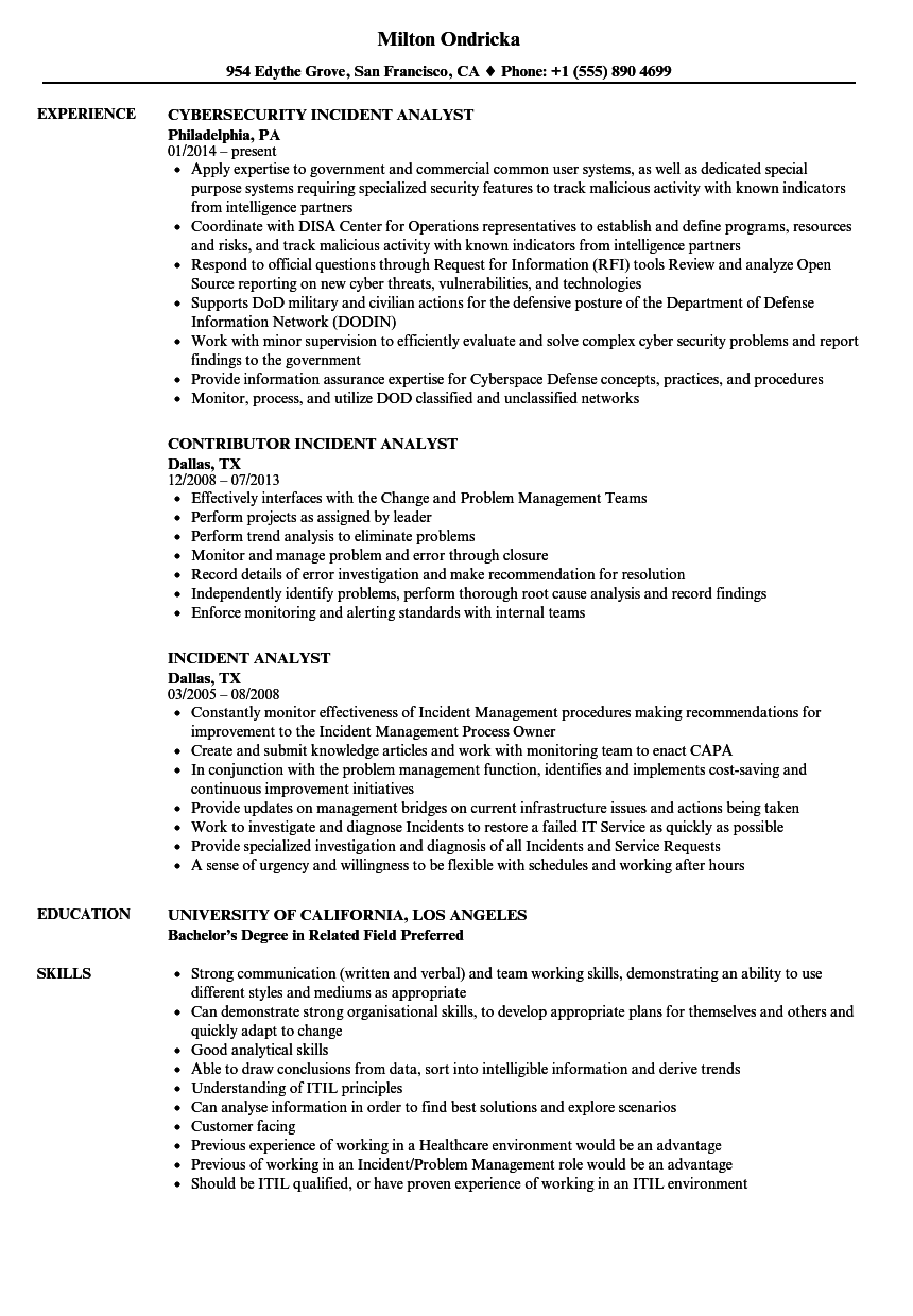 incident analyst resume samples