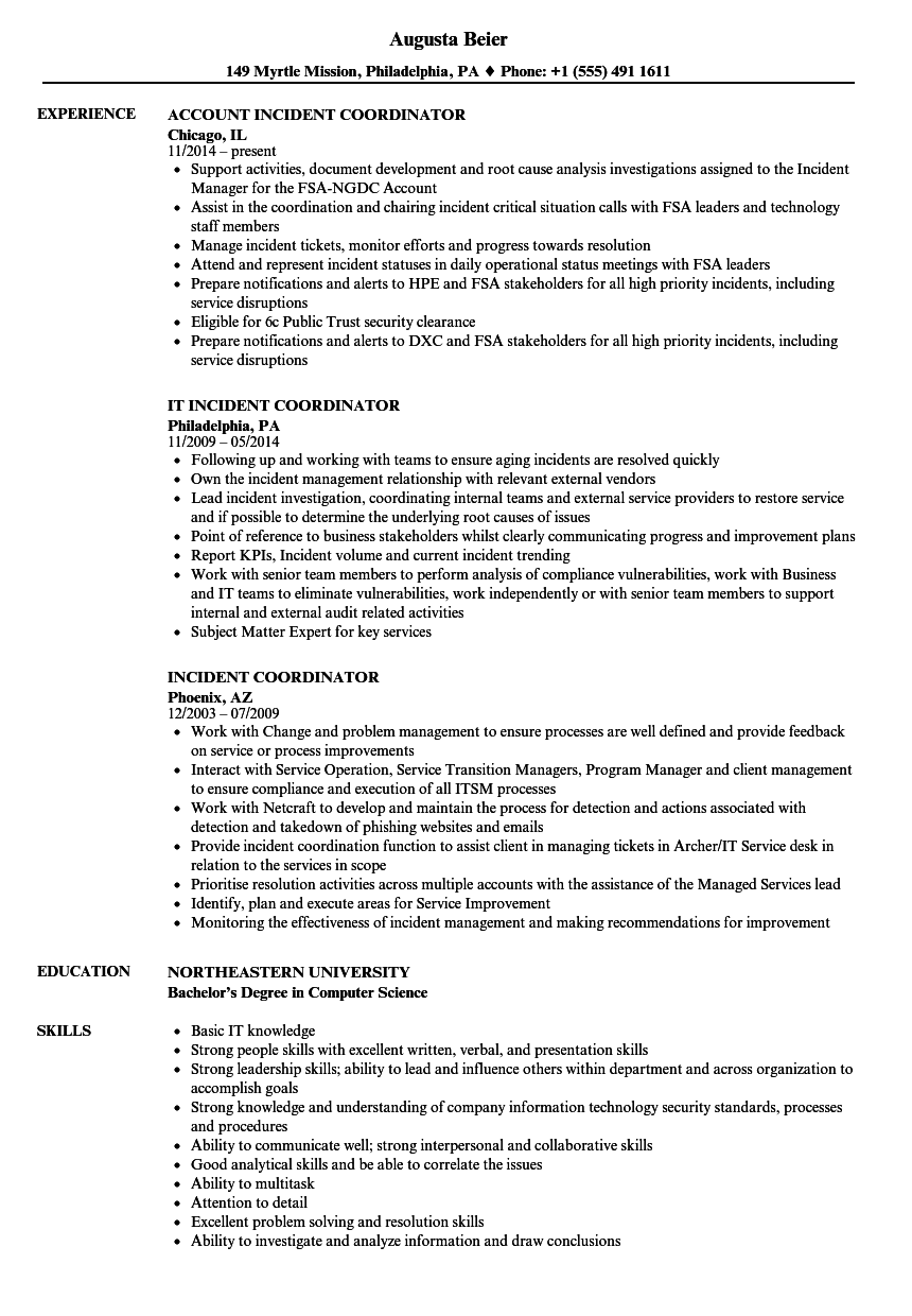 Incident Coordinator Resume Samples