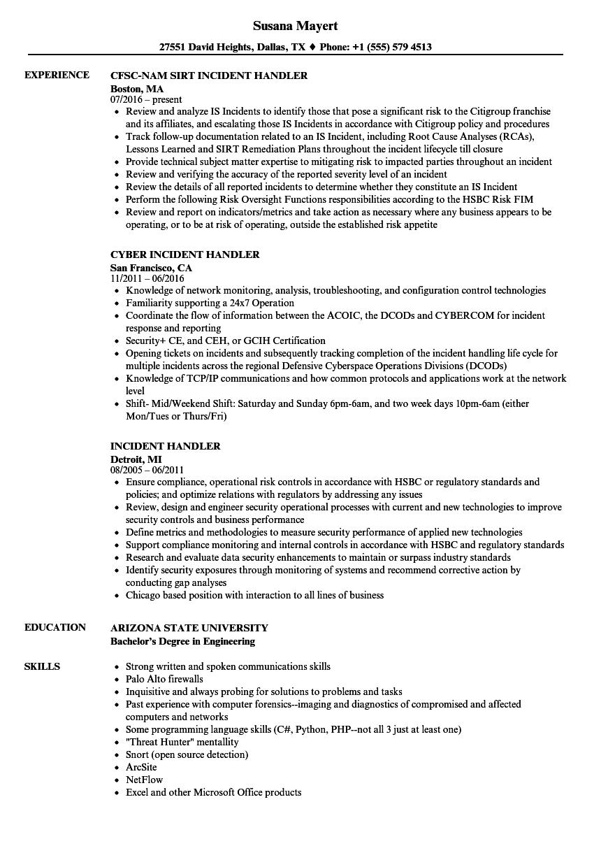 Incident Handler Resume Samples | Velvet Jobs
