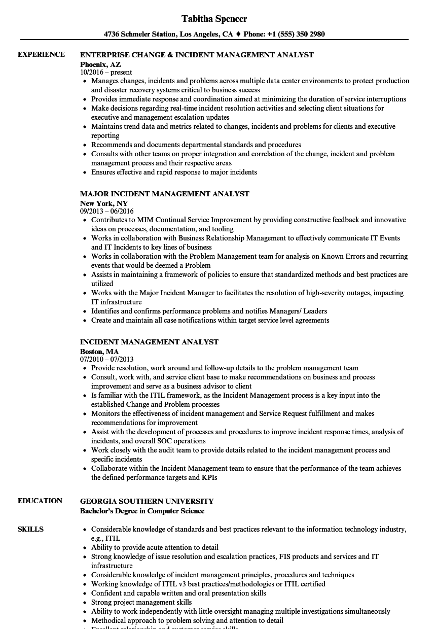 download incident management analyst resume sample as image file - Workforce Management Analyst Sample Resume