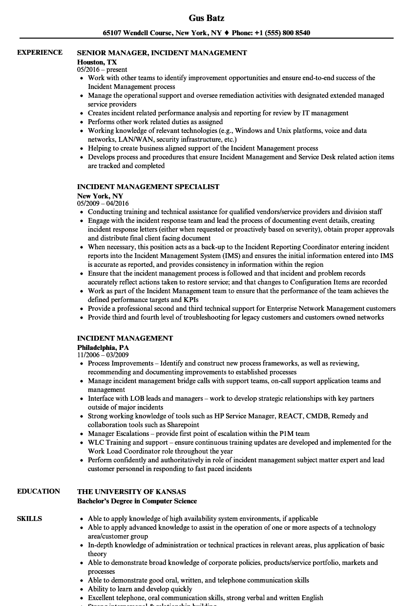 Incident Management Resume Samples Velvet Jobs