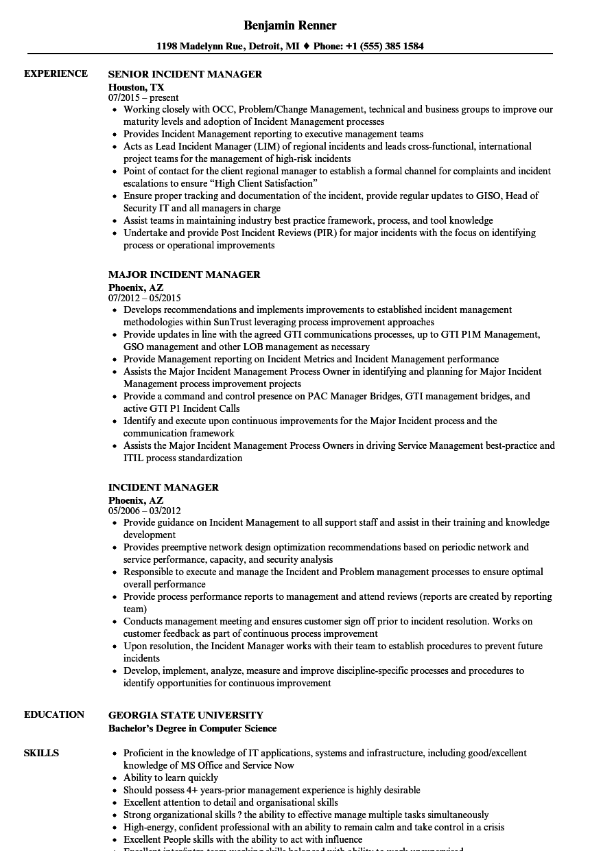 incident manager resume samples
