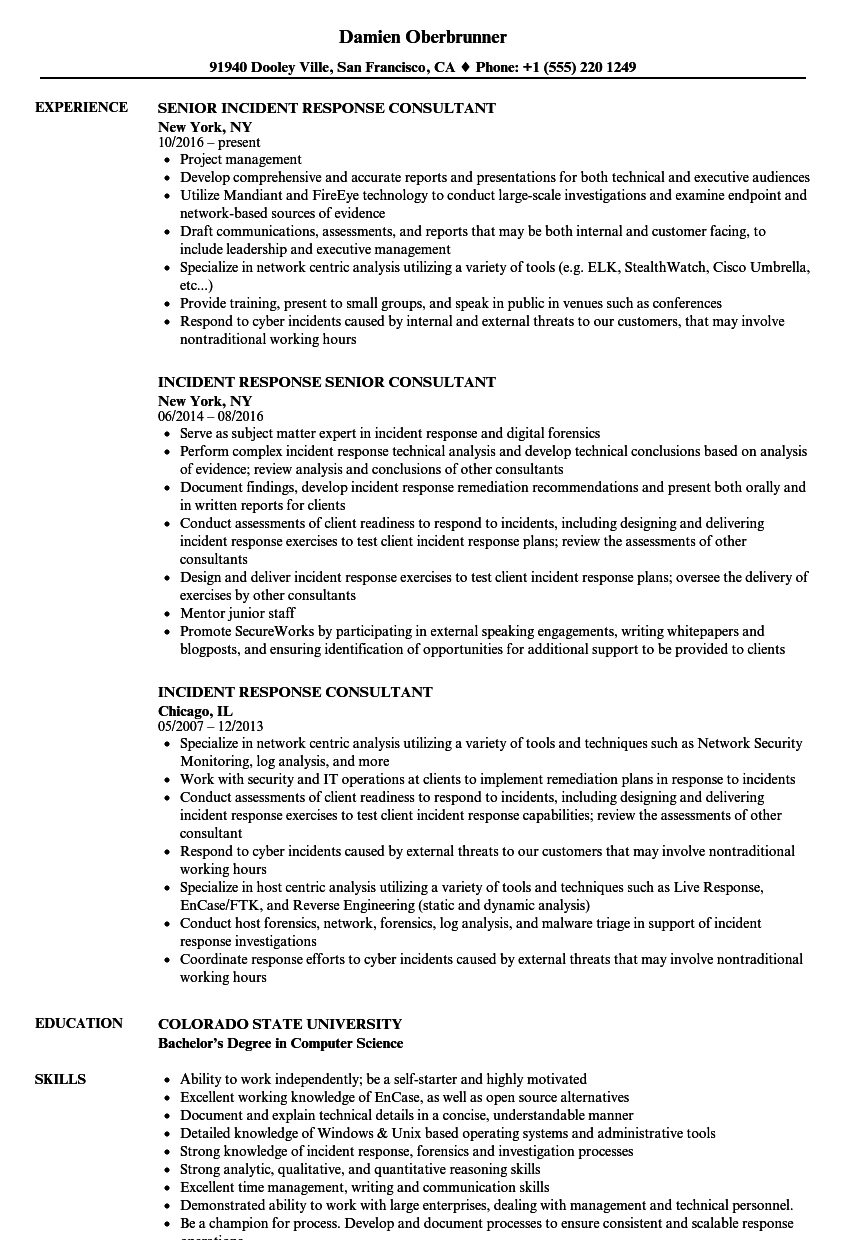 download incident response consultant resume sample as image file