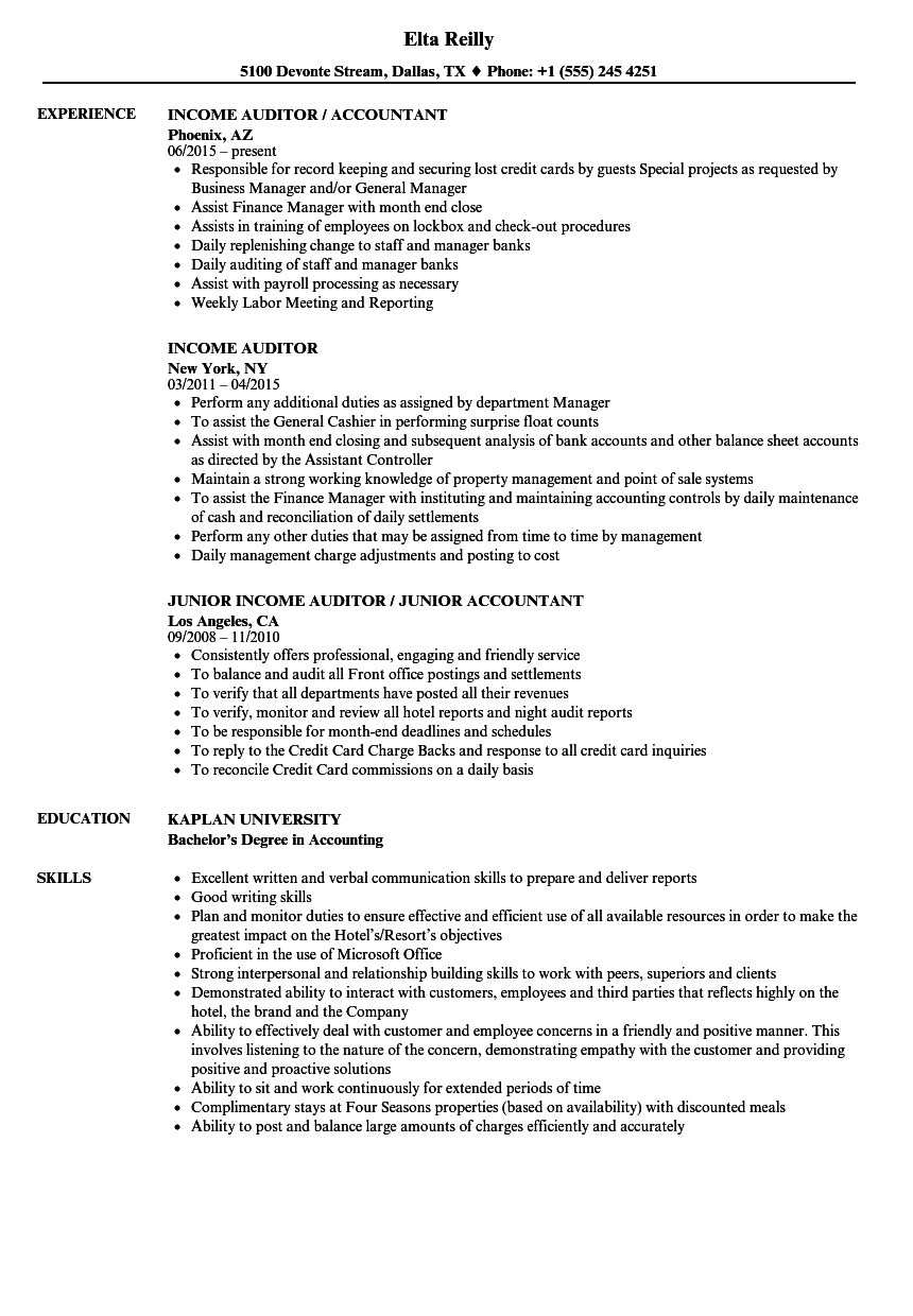income auditor resume samples