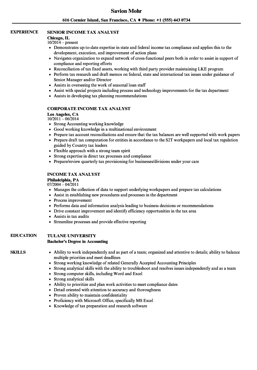 income tax analyst resume samples