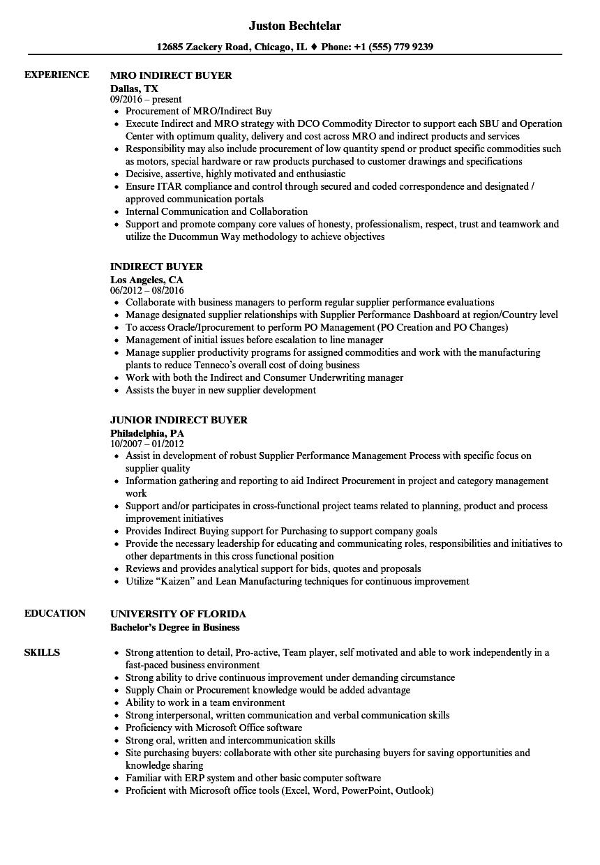 Indirect purchase resume sample